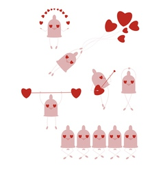 funny little condoms set vector image