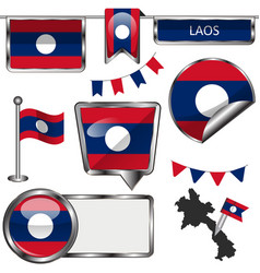glossy icons with flag of laos vector image