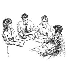 Hand sketch working meeting vector