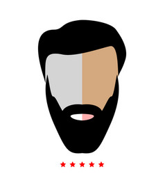 Head with beard and hair icon flat style vector