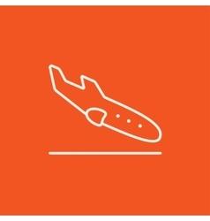 Landing aircraft line icon vector