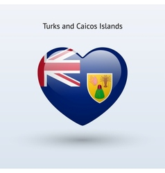 Love turks and caicos islands symbol heart flag vector