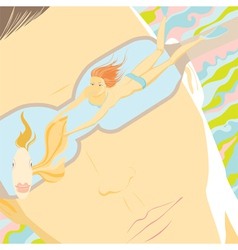mens fantasies girl swimming with goldfish vector image vector image