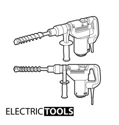 outline electric drill vector image
