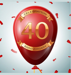 Red balloon with golden inscription forty years vector