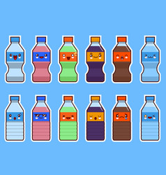 Set of kawaii bottle of soda and water flat vector