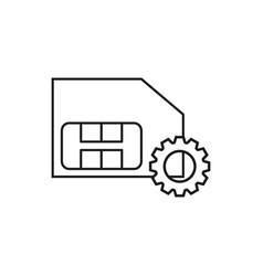 Sim card and cogwheel icons vector