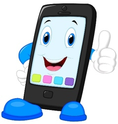 Smart phone cartoon giving thumb up vector image vector image