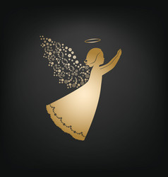 stylish angel with floral wings and nimbus vector image vector image