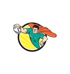 Superhero rugby player scoring try circle vector