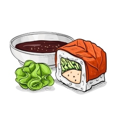 Sushi color sketch philadelphia roll vector