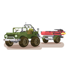 Suv car with trailer boat vector