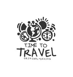 Time to travel logo with globe and compass vector