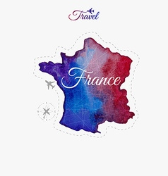 Travel around the world france watercolor map vector