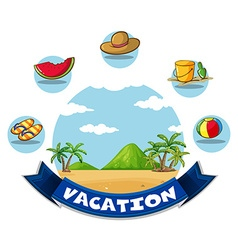 Vacation banner with beach and toys vector image