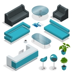 Vip office furniture collection with tables vector