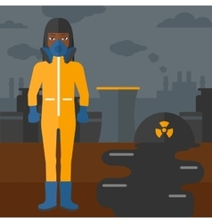 Woman in protective chemical suit vector