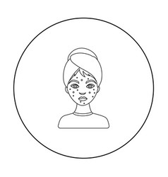 woman with acne icon in outline style isolated on vector image