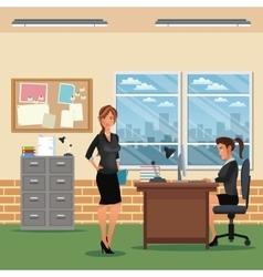 women workspace office desk chair cabinet board vector image vector image