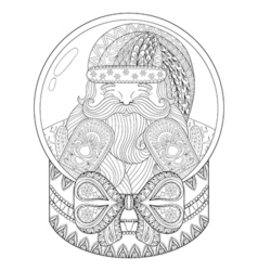 zentangle Christmas snow globe with Santa Claus vector image vector image