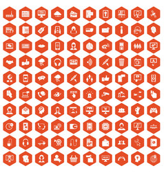 100 contact us icons hexagon orange vector