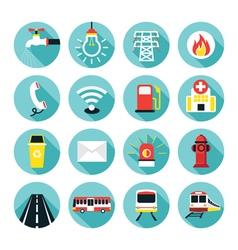 Public Utility Icons Flat Set vector image