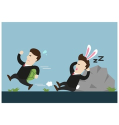 turtle businessman is running and rabbit sleeps vector image