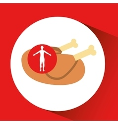 silhouette man concept healthy chicken food icon vector image