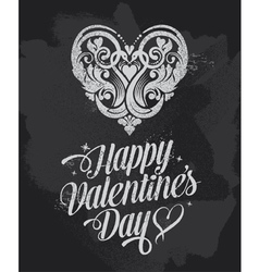Retro chalkboard valentines day design vector