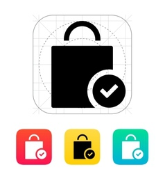 Shopping bag check icon vector