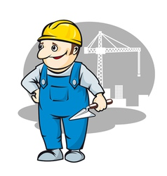 Smiling builder in cartoon style vector