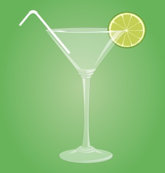 Martini glass with lime vector