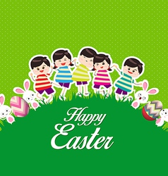 Happy kids easter eggs play bunny cute vector