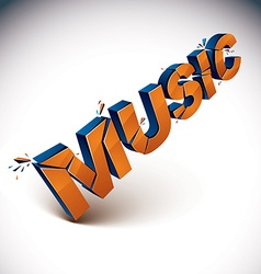3d music word broken into pieces demolished design vector