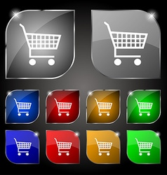 Shopping cart icon sign set of ten colorful vector