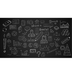 Social media doodles sketch set with infographics vector