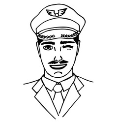 Hand-drawn pilot doodle isolated vector