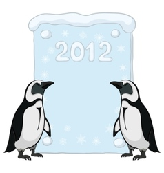 emperor penguins with poster 2012 vector image