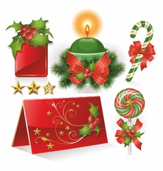 Christmas cards candle and sweets vector