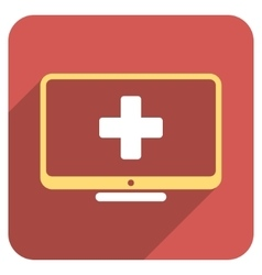 Medical monitor flat rounded square icon with long vector