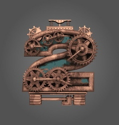 2 rusted letter with gears vector