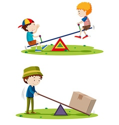 Boys playing seesaw and man lifting box with beam vector