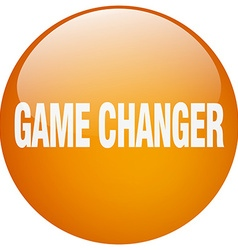 Game changer orange round gel isolated push button vector