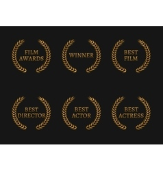 Film academy awards winners and best nominee gold vector