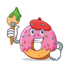 Artist donut character cartoon style vector