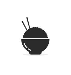 asian food in black bowl vector image