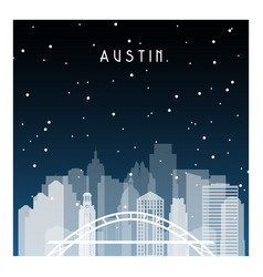 austin night in zurich night city in flat style vector image