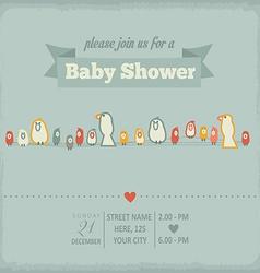Baby shower invitation in retro style vector