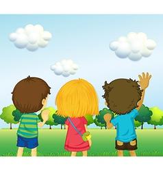 Backview of three kids vector