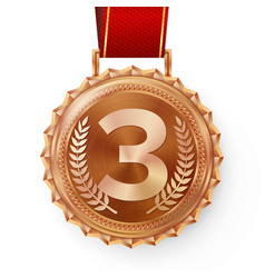 bronze medal bronze copper 3rd place vector image vector image